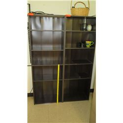 Qty 2 Tall 5 Tier Wooden Shelving Units