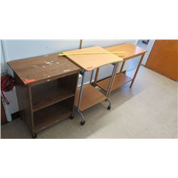 Qty 2 Rolling Carts & Small Wood Table