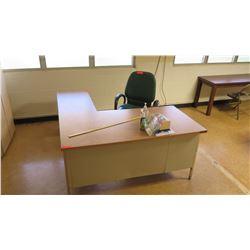 Wood & Metal  L  Shape Desk & Chair