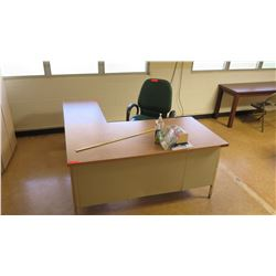Wood & Metal  L  Shape Desk & Chair