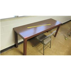 Narrow Wooden Table w/ Folding Chair
