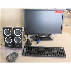 Dell Monitor, Keyboard & 2 Logitech Speakers