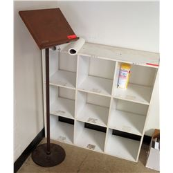 White 9 Compartment Shelf w/ Presentation Stand