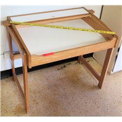 White & Wooden Table w/ Shelf
