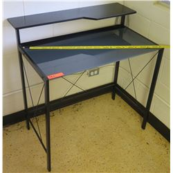 Black Metal Desk w/ Glass Top