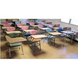 Qty 21 Desks w/ Attached Chairs