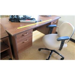 Wooden Desk w/ Rolling Chair