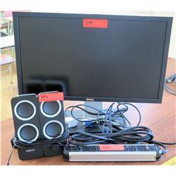 Dell Monitor, 2 Logitech Speakers, Cords