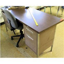 Wood & Metal Desk w/ Rolling Chair