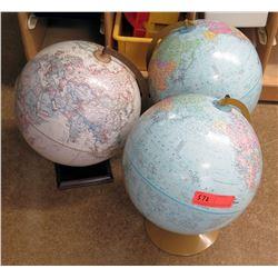 Qty 3 World Globes