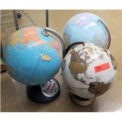 Qty 3 World Globes
