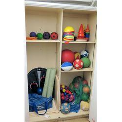 Contents of Shelf - Balls & Sports Equipment