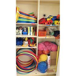 Contents of Shelf - Balls, Hula Hoops & Sports Equipment