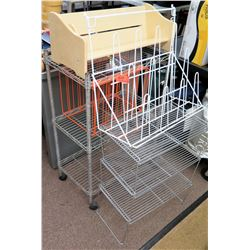 Qty 2 Metal Wire Carts w/ Wood Organizer