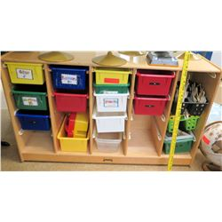 Wood Shelf w/ Colored Stacking Bins