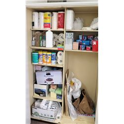 Contents of Shelf - Cleaning Supplies, Paper Towel, etc