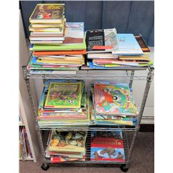 Metal Wire Cart w/ Misc Books