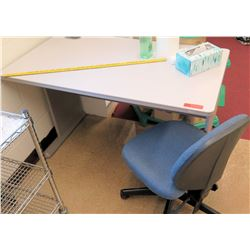 White Metal Table w/ Rolling Chair