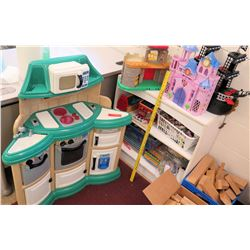Kid's Play Kitchen, Shelf w/ Toys, Castles, etc