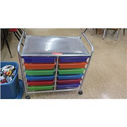 Rolling Metal Cart w/ Colored Bins