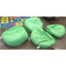 Qty 4 Green Bean Bag Chairs