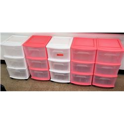 Qty 5 Rolling Plastic Storage Drawers