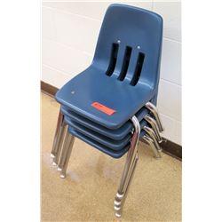 Qty 4 Metal & Blue Plastic Chairs