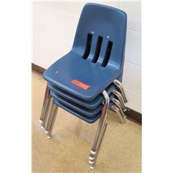 Qty 4 Metal & Blue Plastic Children Chairs