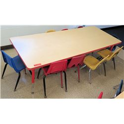 Long Wood Children's Table w/ 10 Chairs