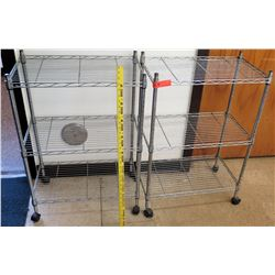Qty 2 Metal Wire Carts on Wheels
