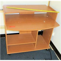 Wood Rounded Desk w/ Bottom Shelves