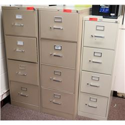 Qty 3 Four Drawer File Cabinets