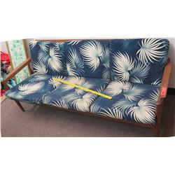 Wood Sofa w/ Blue Leaf Cushions