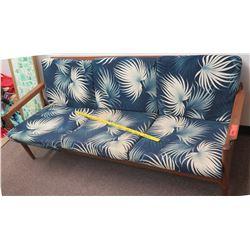 Wood Sofa w/ Blue Leaf Cushions