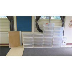 Qty 21 Stackable Plastic Storage Bins, Corkboard & White Board