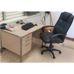 Desk w/ Drawers, Rolling Chair (electronics not included)