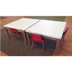 Qty 2 Square Tables & 5 Toddler-Size Chairs