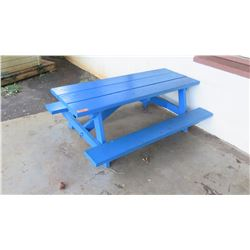 Blue Toddler-Size Picnic Table