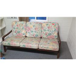 Sofa w/ Wooden Frame & Floral Print Cushions