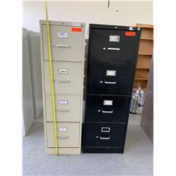 2 Vertical Metal File Cabinets (Black & Cream)