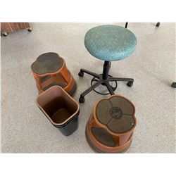 Round Rolling Chair, 2 Rolling Foot Stools, Wastebaskets