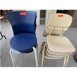 7 Blue Stackable Chairs & 4 White Stackable Chairs