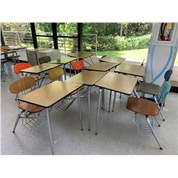 Qty 9 Desks w/ Attached Chairs
