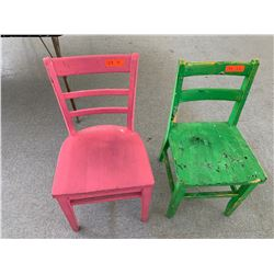 2 Painted Wooden Chairs from Art Room