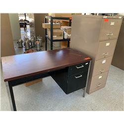 Desk with Metal Base & 4-Drawer Metal File Cabinet