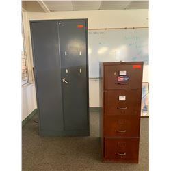 Tall Metal Cabinet & 4-Drawer File Cabinet (latch not working properly on tall cabinet)