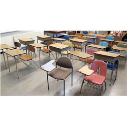 Qty 14 Chairs w/ Attached Desks & Freestanding Desks/Chairs (STUDENT CNTR)