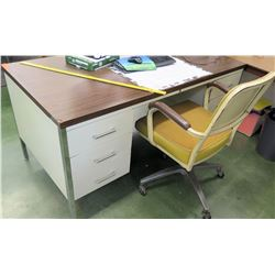 Desk & Yellow Rolling Chair