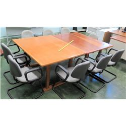 Qty 2 Wooden Tables & 9 Upholstered Reception Chairs