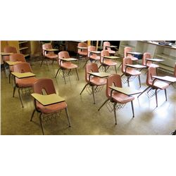 Qty 21 Plastic Chairs w/ Attached Desks
